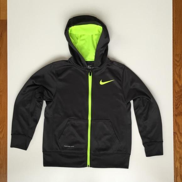 ec6839077 Nike Jackets & Coats | Thermafit Full Zip Hoodie Sz M Black Yellow ...